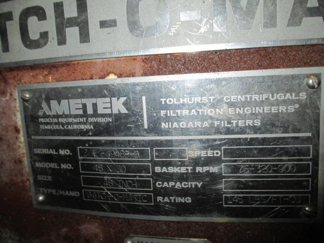 """48"""" X 30"""" AMETEK TOLHURST BATCH-O-MATIC CENTRIFUGE"""