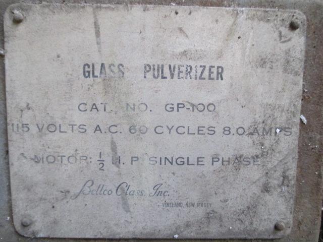 BELLCO GLASS PULVERIZER MODEL GW100 1/2 HP