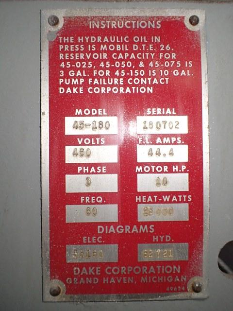 75 Ton Dake Hydraulic Press, Model 45-180