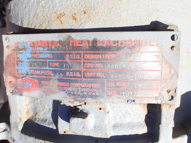100 Sq Ft Union Carbide Karbate Heat Exchanger, 75/75