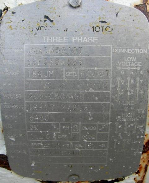 "2.5"" X 2"" AMPCO CENTRIFUGAL PUMP, 316 S/S, 7.5 HP"