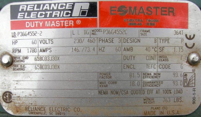 60 HP SUTORBILT BLOWER, C/S