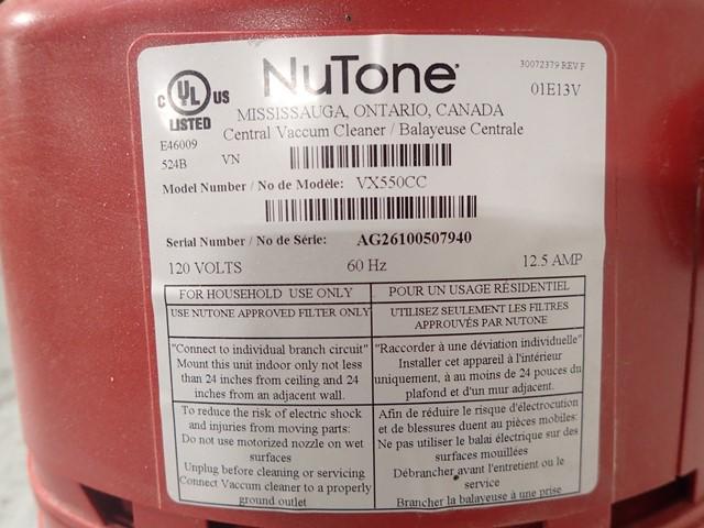 Nutone Central Vacuum Cleaner, Model VX550CC