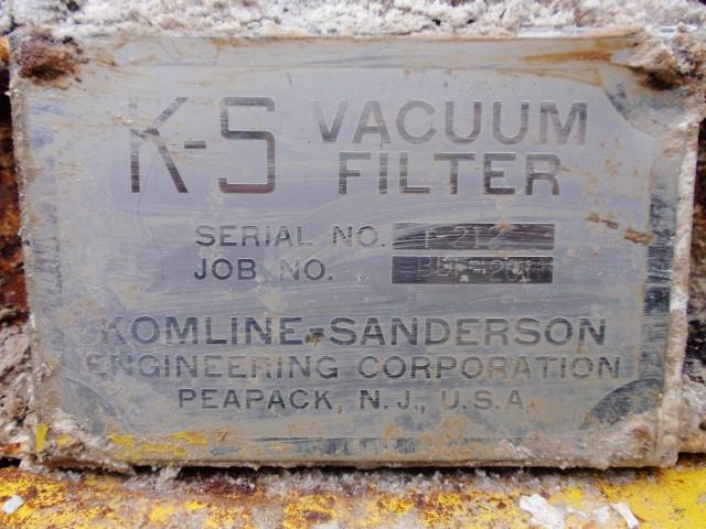 8'' x 10'' KOMLINE SANDERSON ROTARY VACUUM FILTER, SS