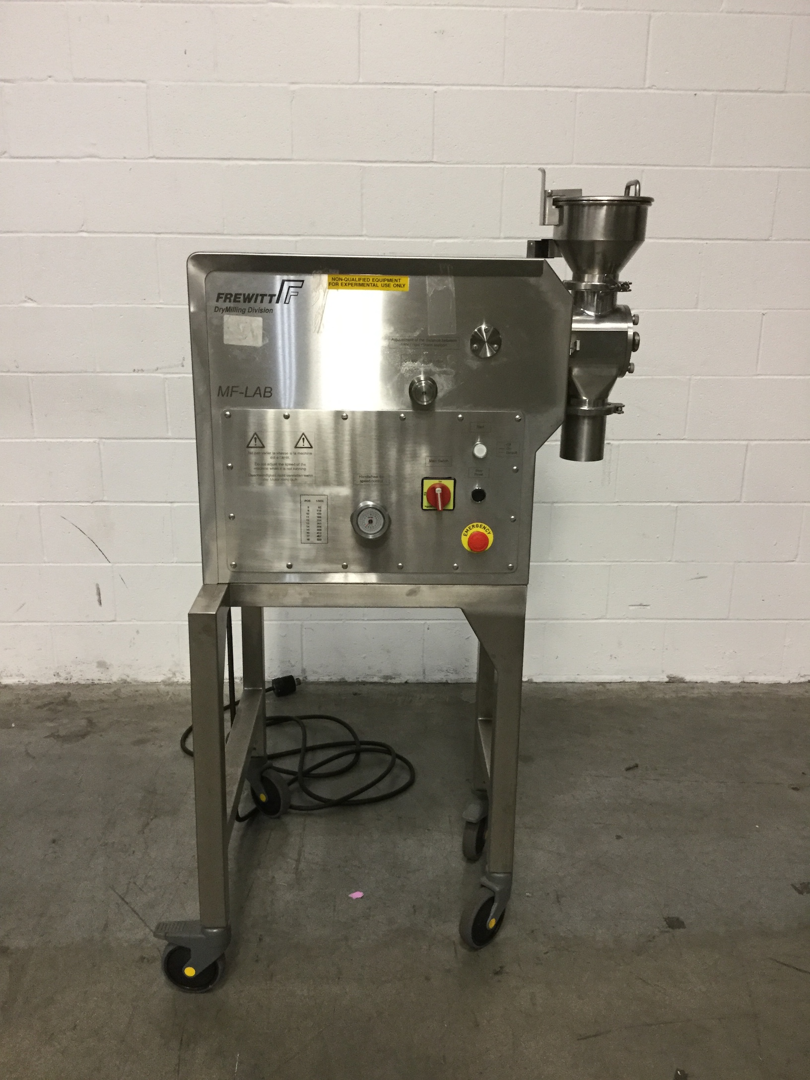 Frewitt Oscilating Granulator, Model MF-Lab, S/S