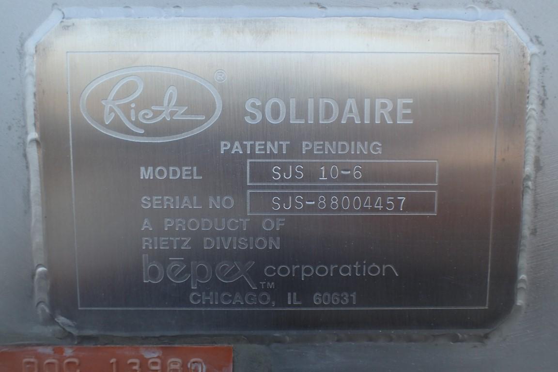 Rietz Solidaire Dryer, Model SUS10-6, S/S