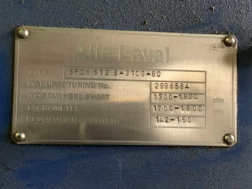 Alfa Laval Disk Centrifuge, Model SPQX512-S-31CG-60
