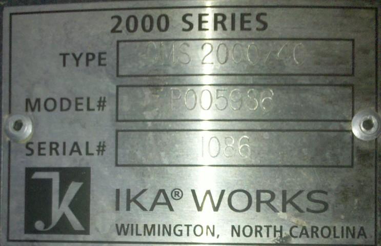 IKA POWDER LIQUID MIXER, MODEL CMS 2000/40, S/S