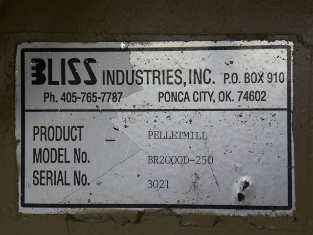 BLISS PELLET MILL, MODELB-200B-250