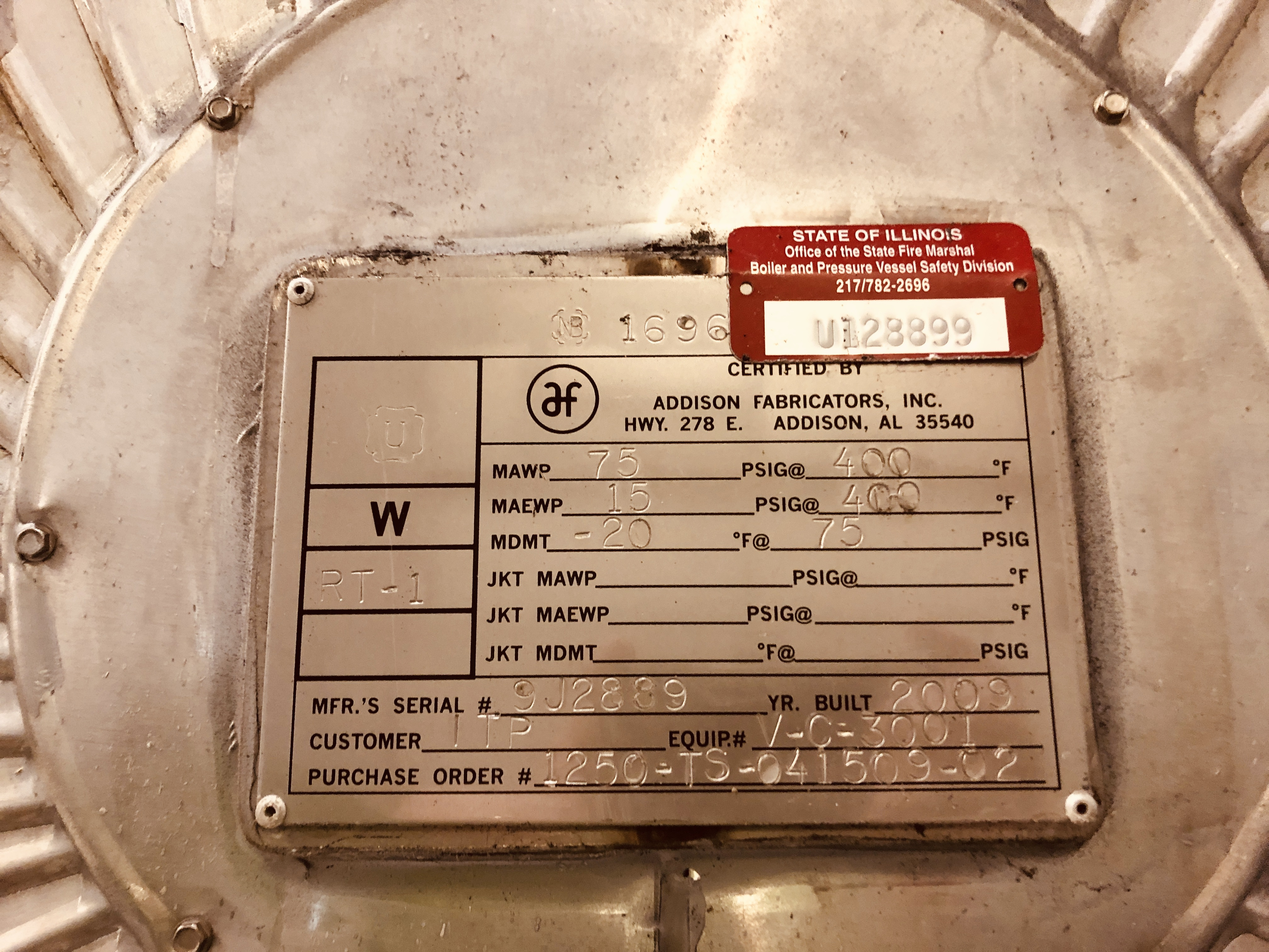 27,000 Gal Addison Fab Receiver Tank, 304 S/S, 75#