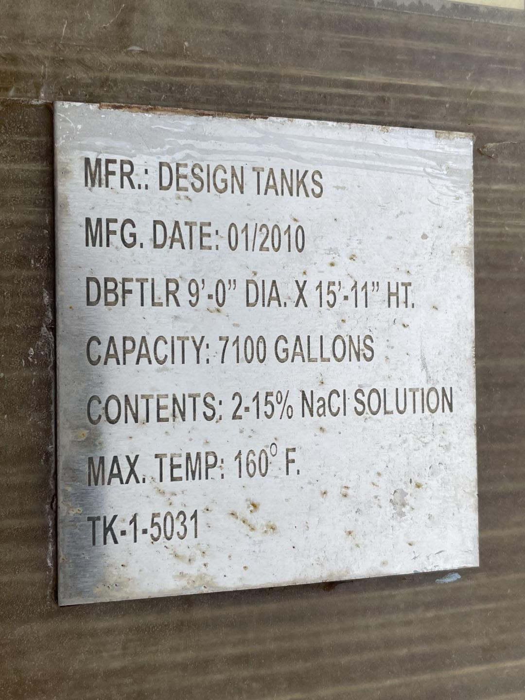 7,100 Gal Design Tanks Inc Mix Tank, FRP, 3 HP