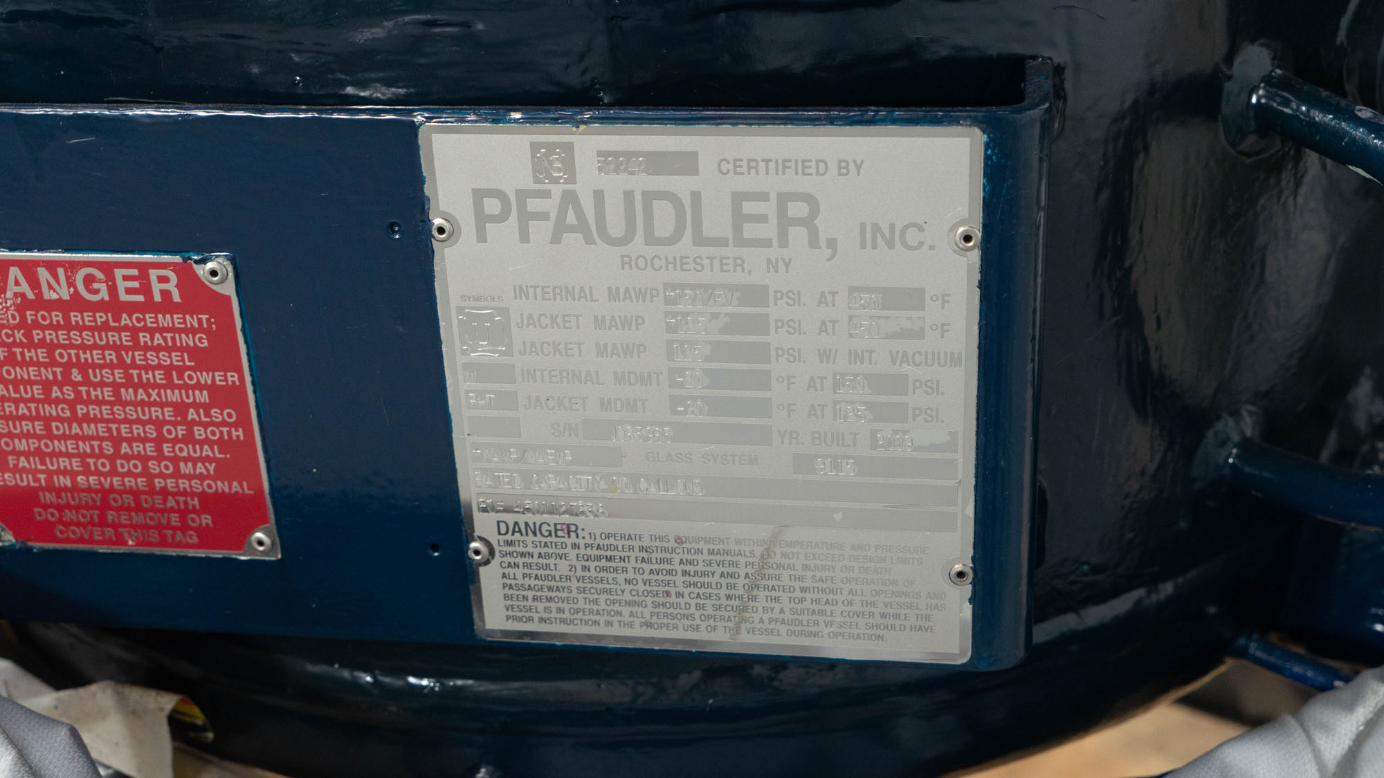 20 Gal Pfaudler Glass Lined Reactor, 150/125#
