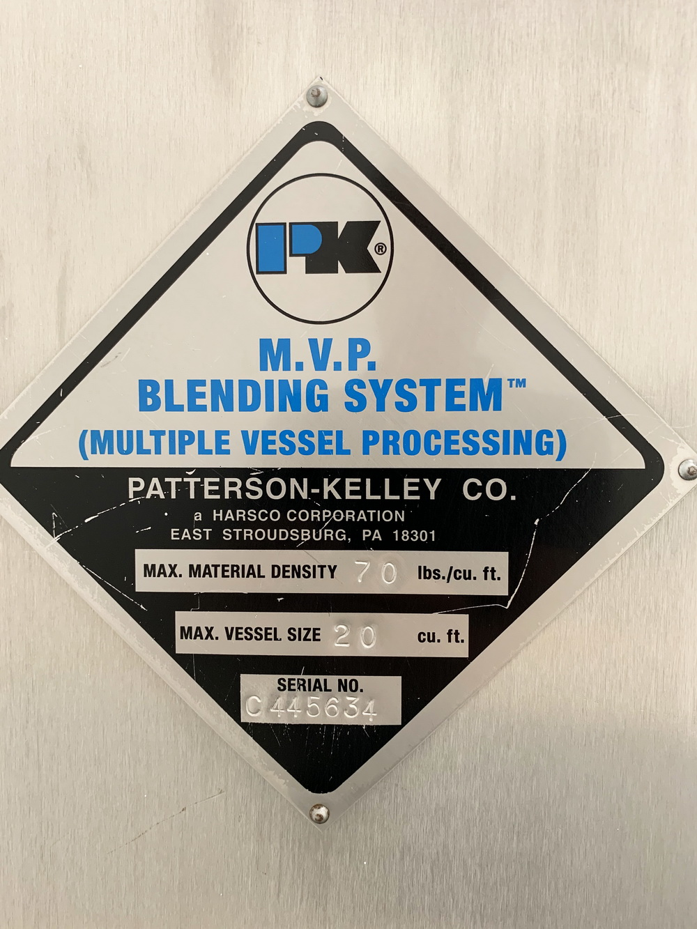 10 Cu Ft P-K Blender System, Model MVP