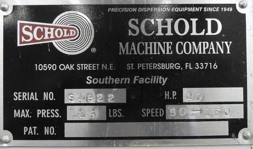 10 HP SCHOLDS SLOW SPEED DISPERSER, S/S