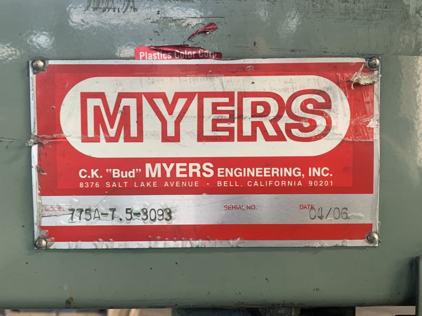7.5 HP Myers Disperser, Model 775A, S/S