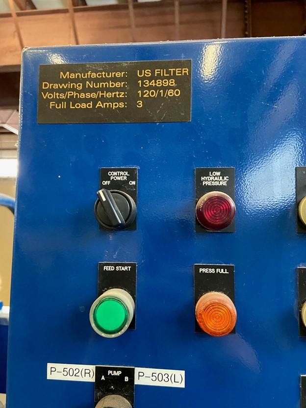 """47.24"""" (1,200 MM) US Filter J Press Filter Press, 40 Cu Ft"""