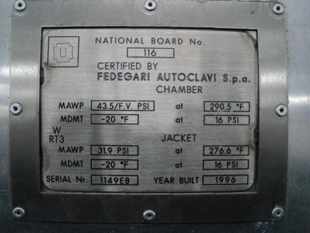 FEDEGARI STERILIZER, MODEL FOA F/8, S/S