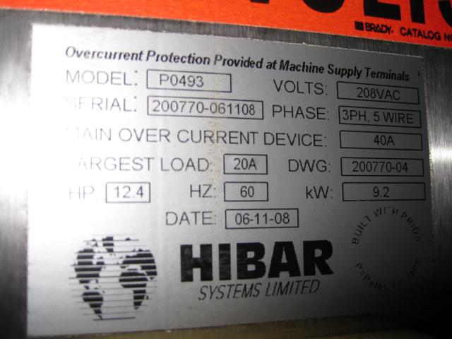 HIBAR GEL BOTTOM FILLING LINE, MODEL P0493