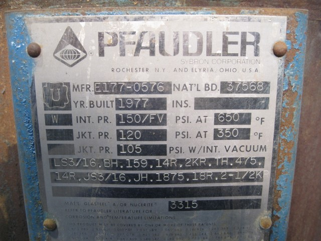 10 GAL PFAUDLER GLASS LINED REACTOR, 150/120#