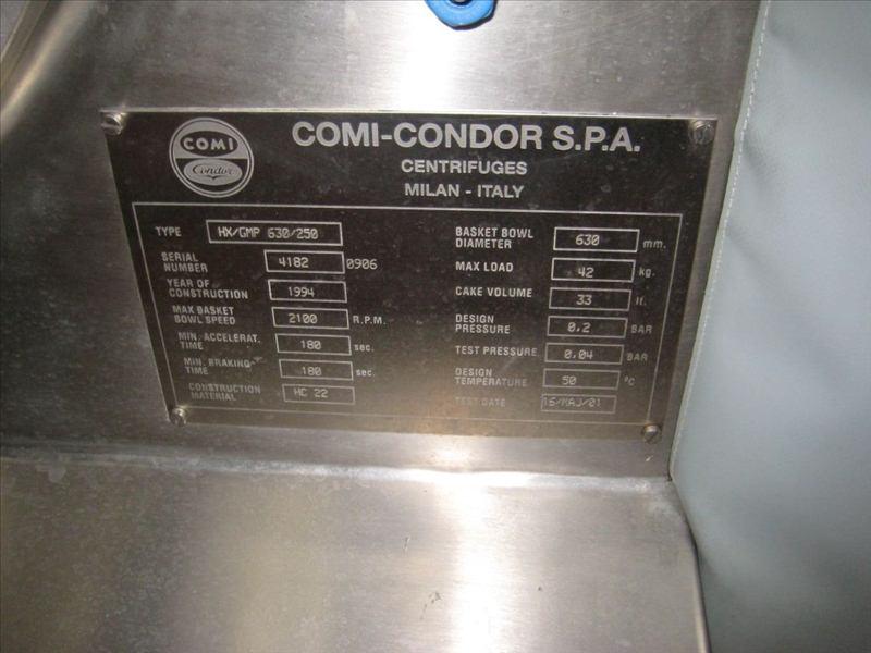 630 MM Comi Condor Peeler Centrifuge, Hastelloy HC22, 25 HP
