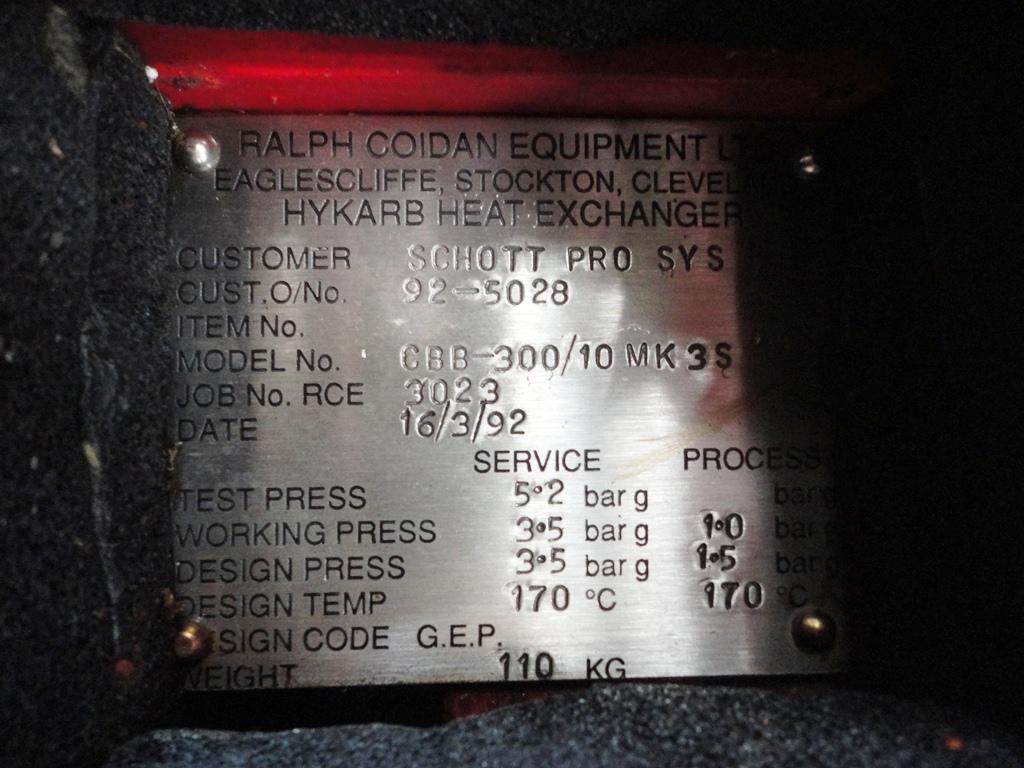 20 SQ FT RALPH COIDAN GRAPHITE BLOCK HEAT EXCH., 14.5/50.75
