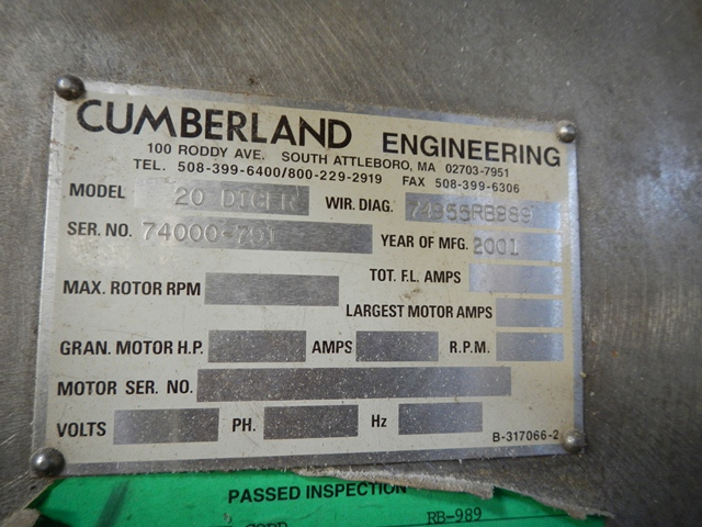 "20"" CUMBERLAND STAIR STEP DICER 150 HP"