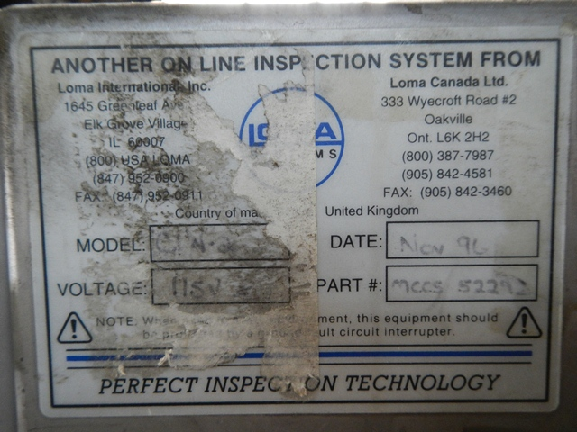 LOMA METAL DETECTOR, MODEL IQ2