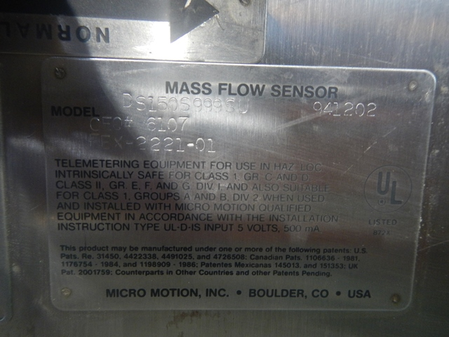 MICRO MOTION FLOW METER, S/S, MODEL DS 150