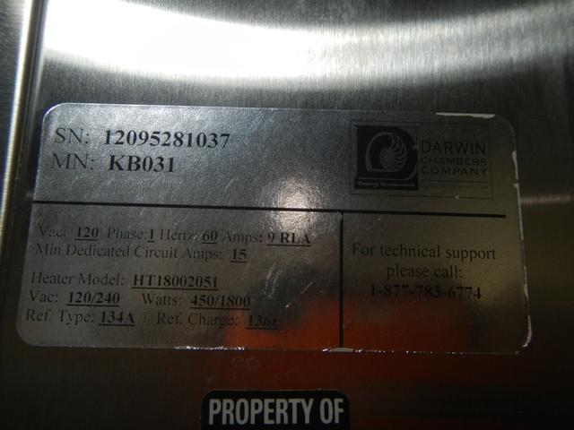 24 CU FT DARWIN ENVIROMENTAL CHAMBER, MODEL KB031