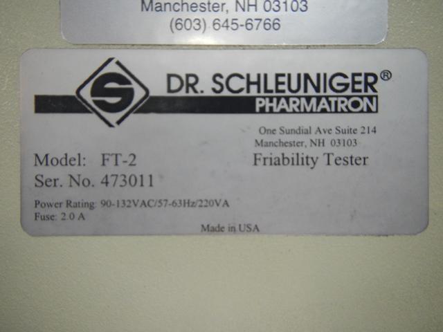 DR. SCHLEUNIGER PHARMATRON FT-2 FRIABILITY TESTER