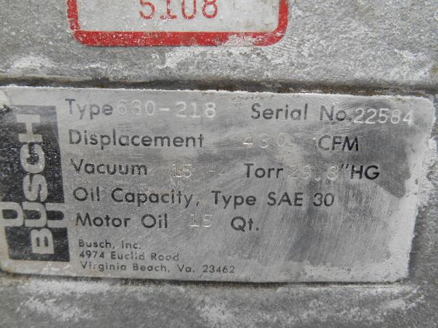 430 CFM BUSCH VACUUM PUMP, TYPE 630-218