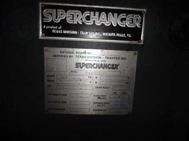56 Sq Ft Tranter Plate Heat Exchanger, S/S, 100#