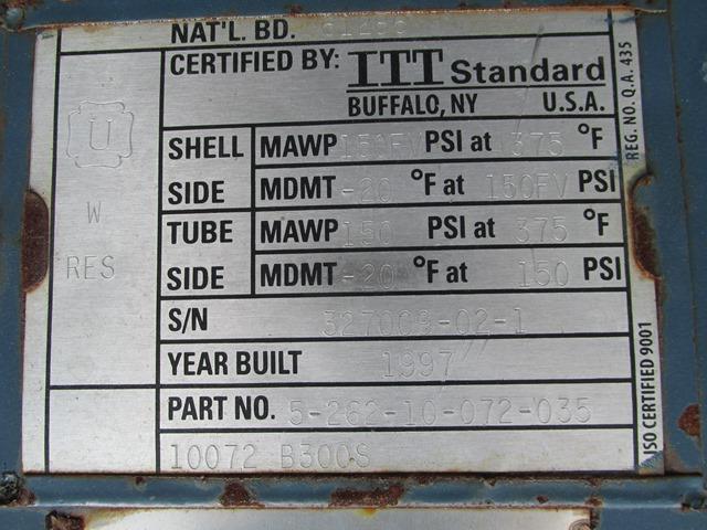 56 Sq ft ITT Heat Exchanger, C/S, 150/150#