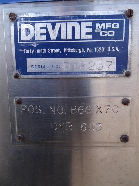 57 SQ FT DEVINE VACUUM SHELF DRYER, S/S