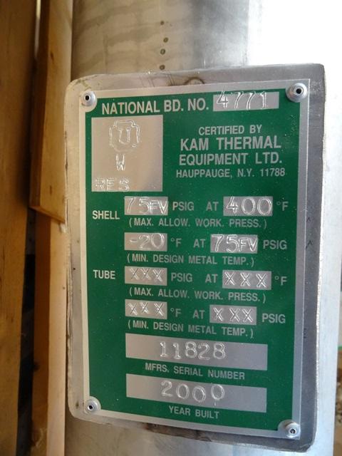 30 SQ FT KAM THERMAL HEAT EXCHANGER, HASTELLOY C, ATM/75#
