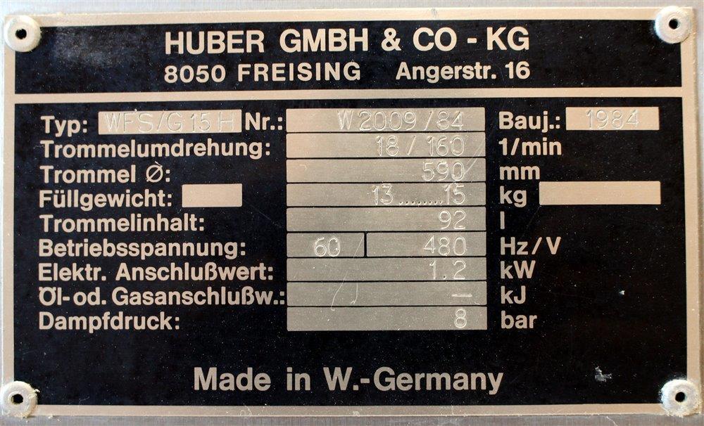HUBER STOPPER WASHER, MODEL WFS-G15H