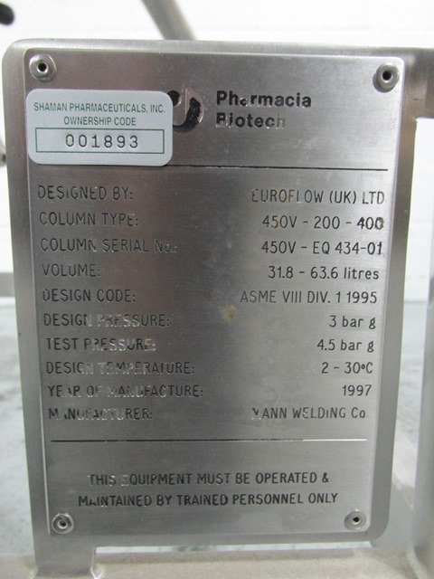 PHARMACIA BIOTECH CHROMATOGRAPHY COLUMN, TYPE 450V-200-400