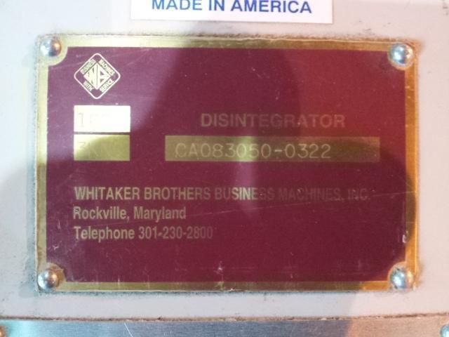40 HP Whitaker Shredder, Model 4400 Datastroyer