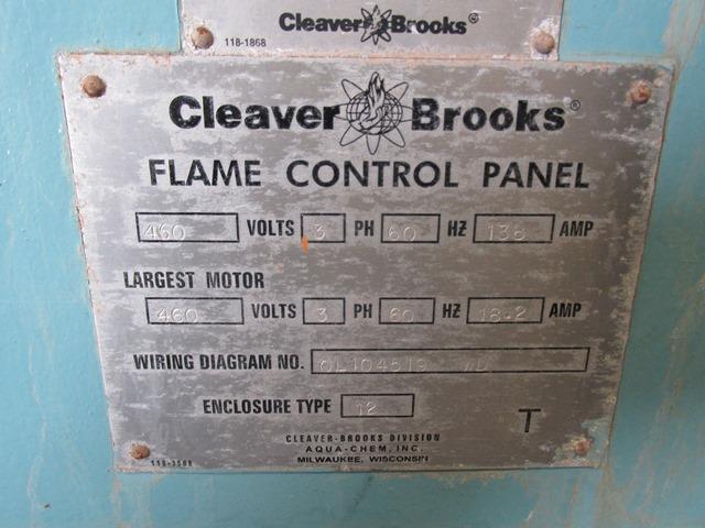 500 HP CLEAVER BROOKS PACKAGED STEAM BOILER, 150 PSI