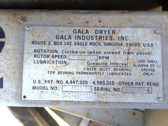 GALA SPIN DRYER, MODEL 48.5DW