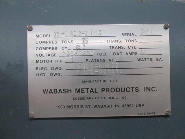 75 TON WABASH PRESS, MODEL 75-1818-2TMX