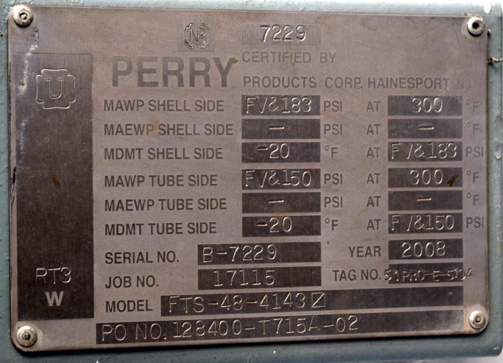 4143 SQ FT PERRY HEAT EXCHANGER, C/S, 150/183#