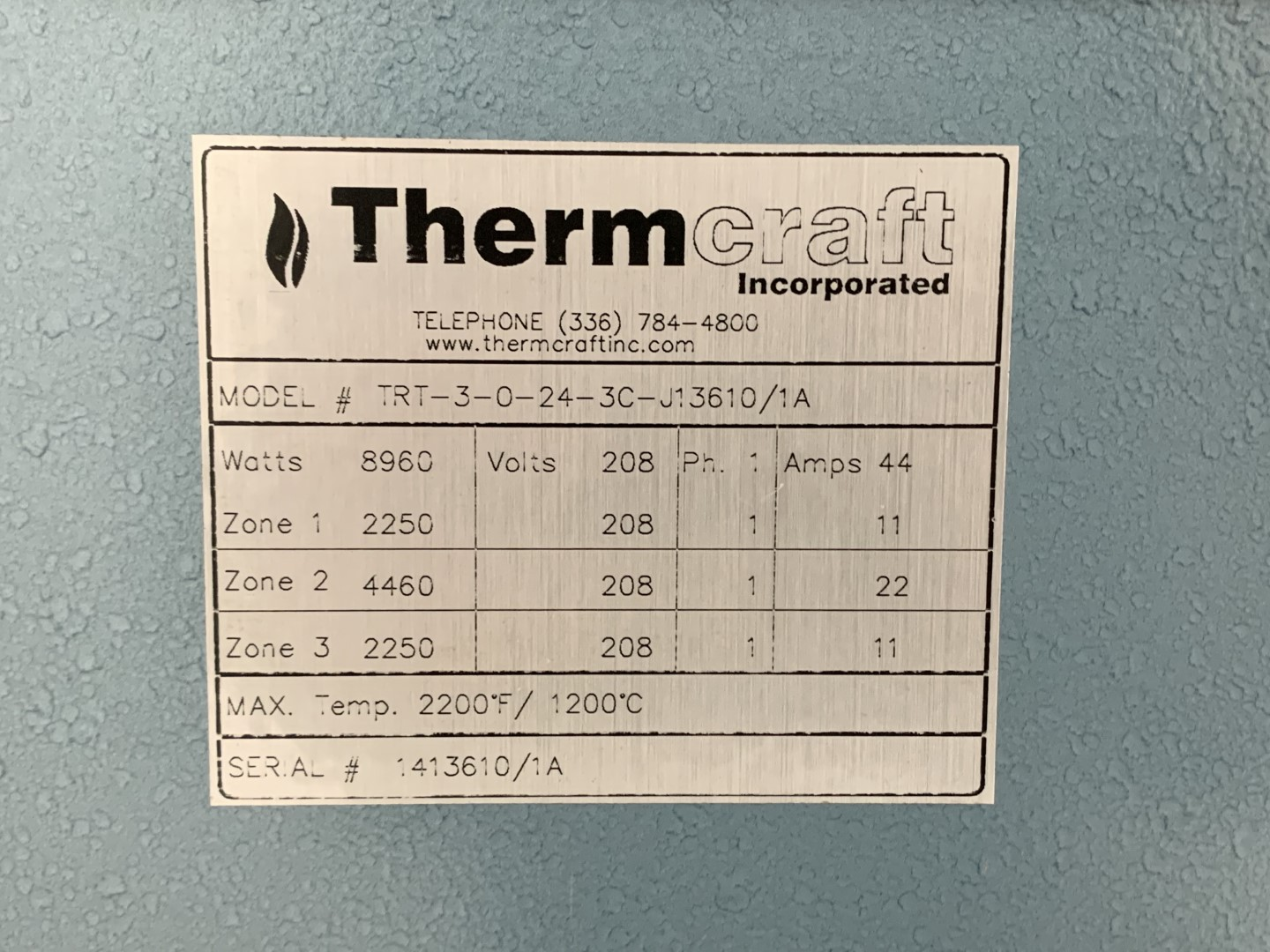 """3"""" ThermCraft Rotary Tube Furnace Calciner, Inconel 600"""