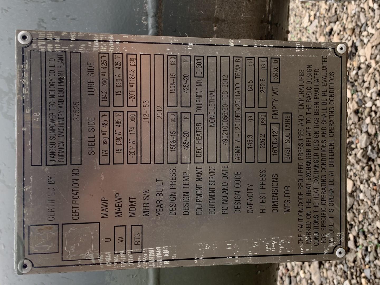 681 Sq Ft Jiangsu Sunpower Tech Heat Exchanger, 304L S/S, 184/174#
